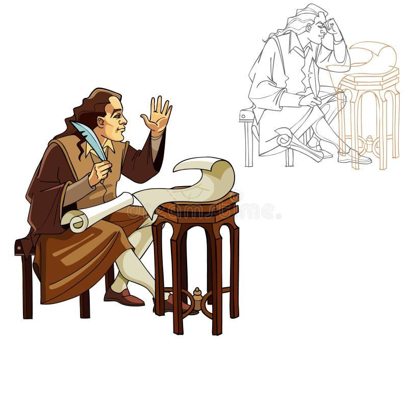 Homem medieval com uma pena e os rolos ilustração do vetor