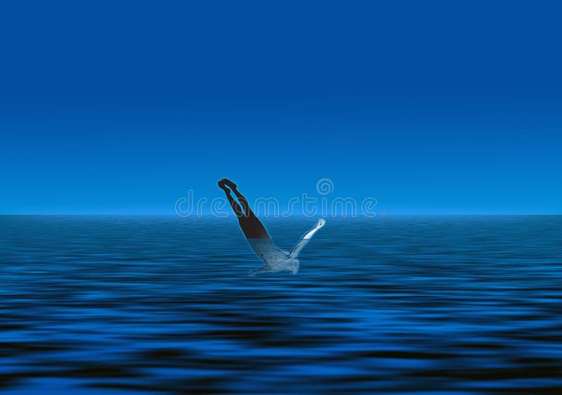 homem a mergulhar ilustração do vetor