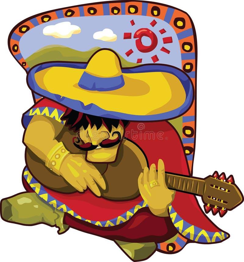 Homem mexicano brilhante que joga a guitarra ilustração royalty free