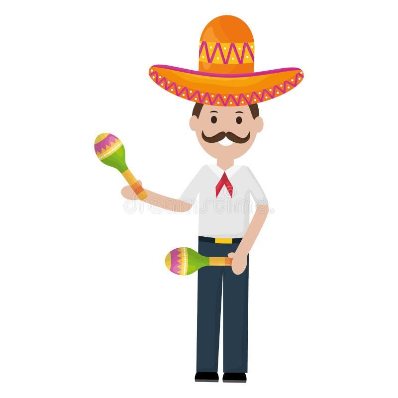 Homem mexicano com chapéu e maracas do mariachi ilustração royalty free