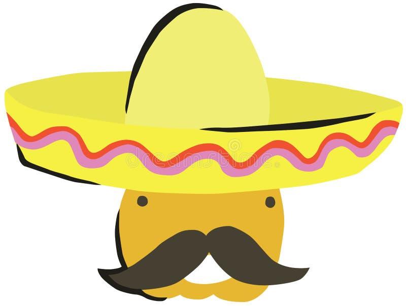 Homem mexicano do bigode em um sombreiro ilustração stock