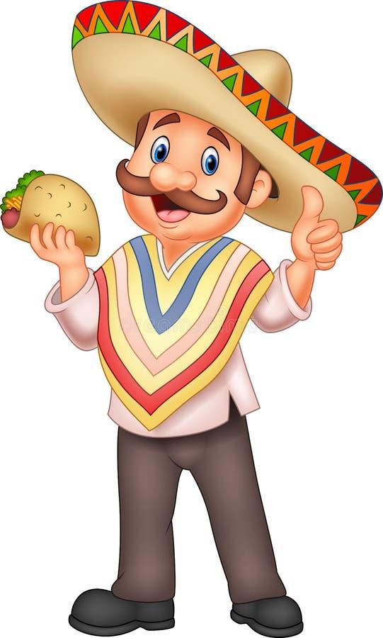 Homem mexicano que guarda o taco ilustração do vetor