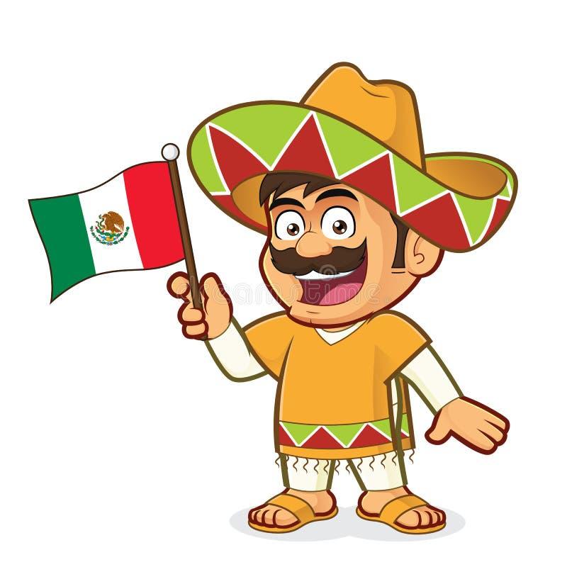Homem mexicano que guarda uma bandeira mexicana ilustração do vetor