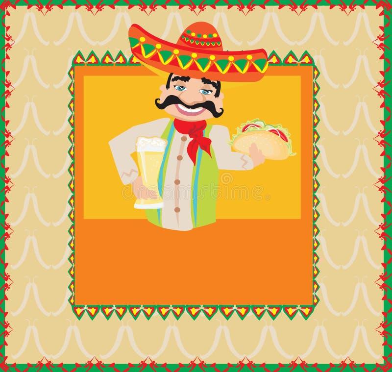 Homem mexicano que guarda uma cerveja e um taco ilustração royalty free