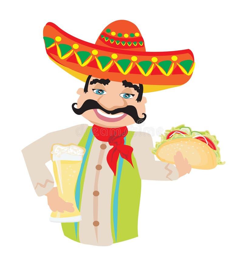 Homem mexicano que guarda uma cerveja fria e um taco ilustração do vetor
