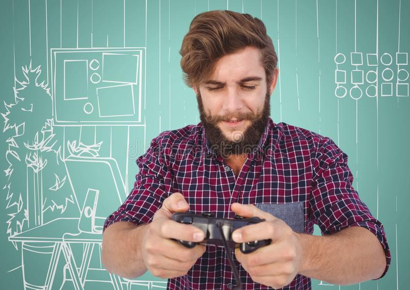Homem milenar que joga jogos de vídeo contra o aqua e mão branca o escritório tirado foto de stock royalty free
