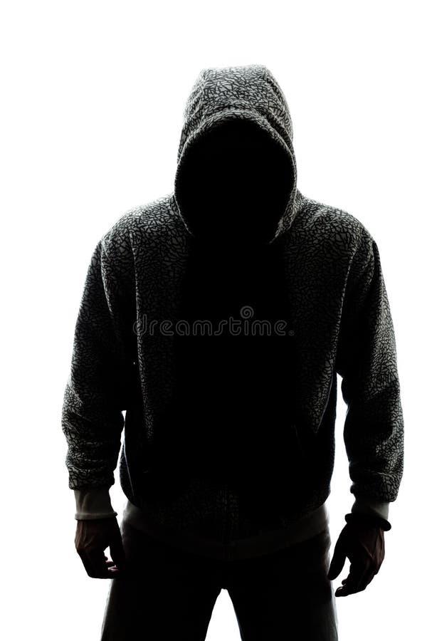 Homem misterioso na silhueta fotografia de stock