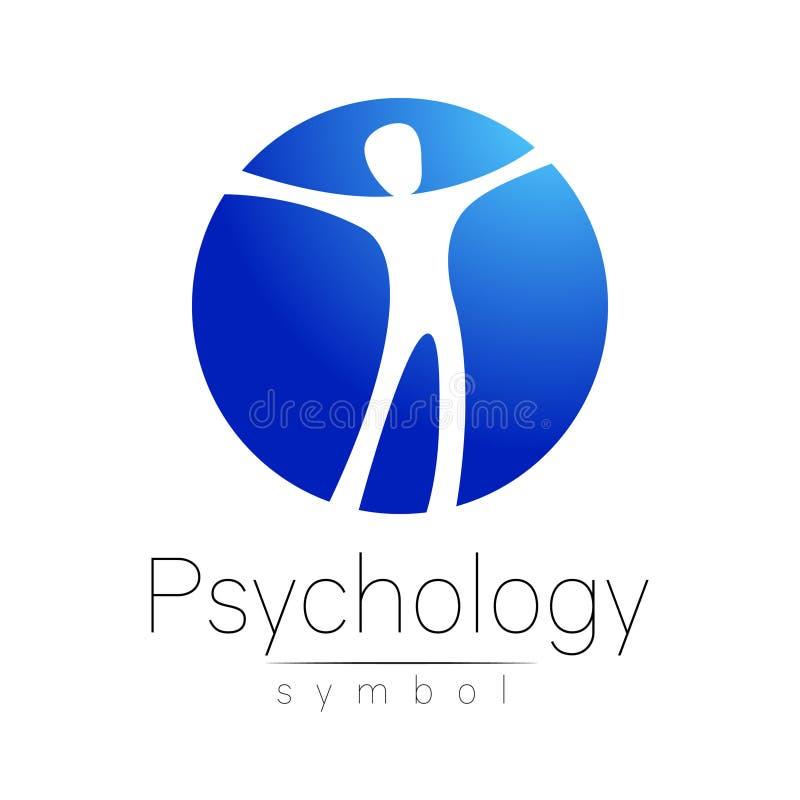 Homem moderno Logo Sign da psicologia Ser humano em um círculo Estilo creativo Ícone no vetor Conceito de projeto Empresa do tipo ilustração royalty free