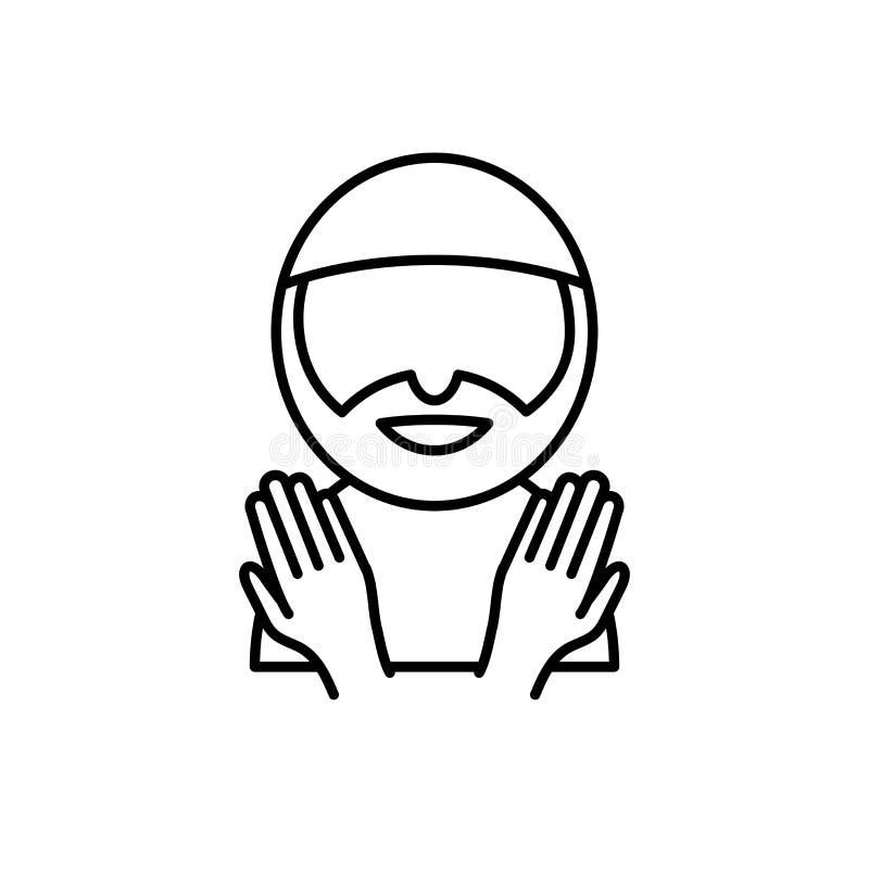 Homem muçulmano com rezar as mãos Estilo simples do ícone do monoline para muçulmanos ramadan e celebração do fitr do al do eid ilustração do vetor