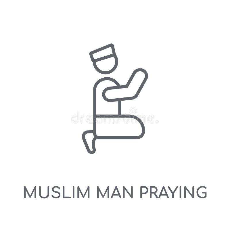 Homem muçulmano que reza o ícone linear Homem muçulmano Prayin do esboço moderno ilustração do vetor