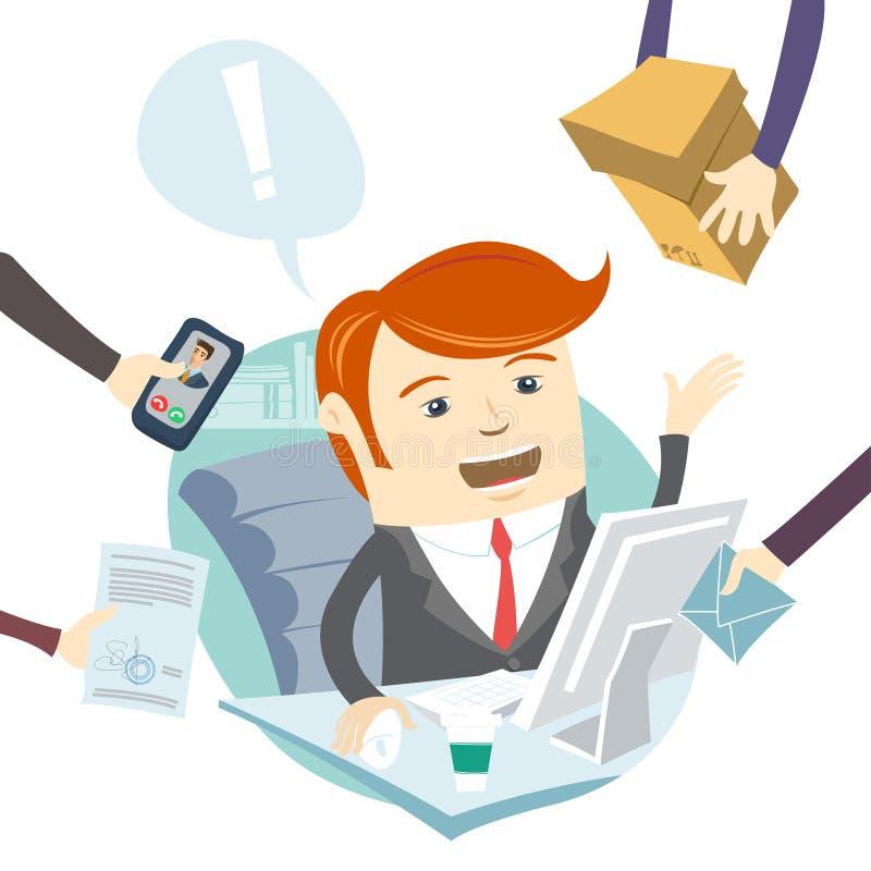 Homem muito ocupado do escritório que trabalha duramente ilustração royalty free