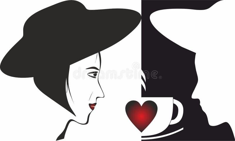 Homem, mulher, café, Valentine Icons para o conceito e apps móveis da Web ilustração royalty free