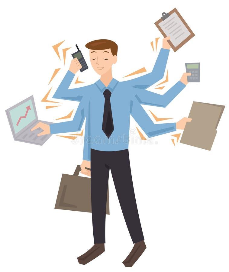 Homem a multitarefas ocupado ilustração royalty free