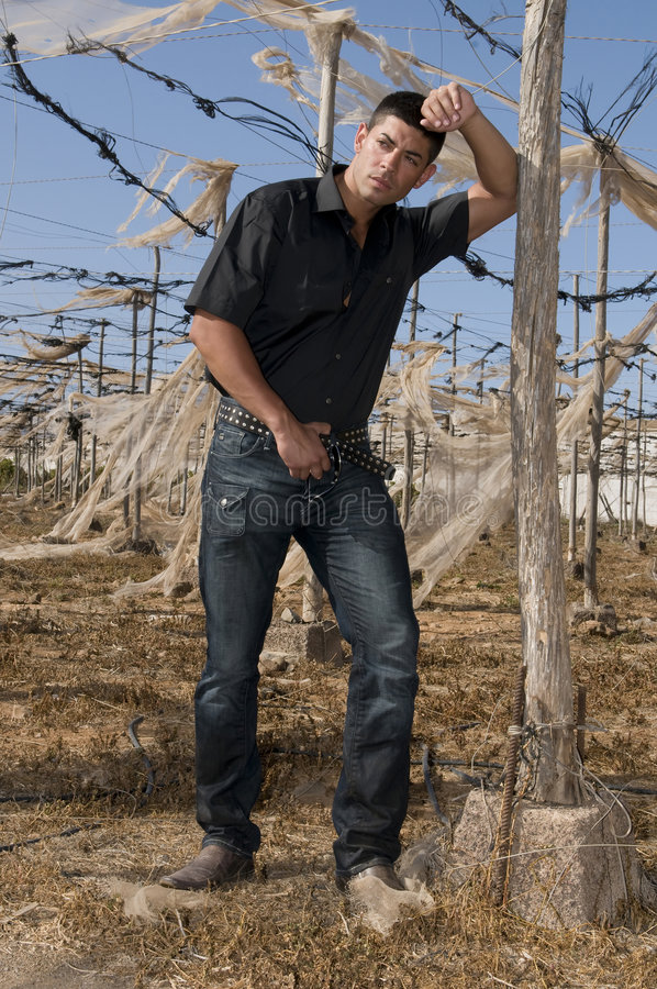 Homem muscled 'sexy' com calças de brim fotografia de stock
