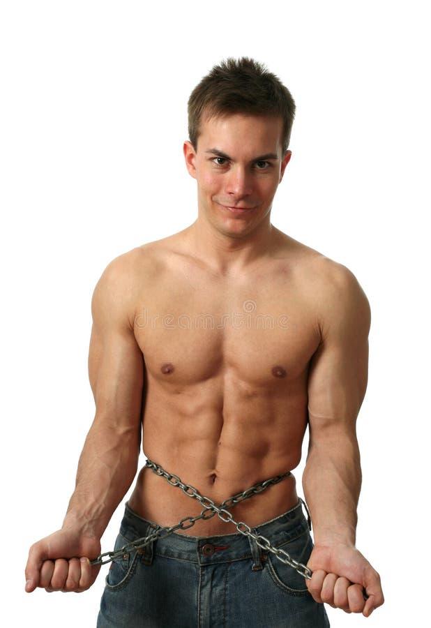 Homem muscular com uma corrente fotos de stock royalty free