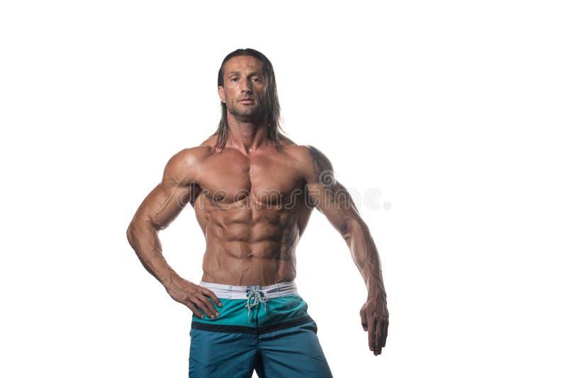 Homem muscular do halterofilista que levanta sobre o fundo branco fotografia de stock royalty free