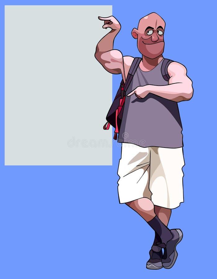 Homem muscular dos desenhos animados com pontos da trouxa a um quadro de avisos vazio ilustração royalty free