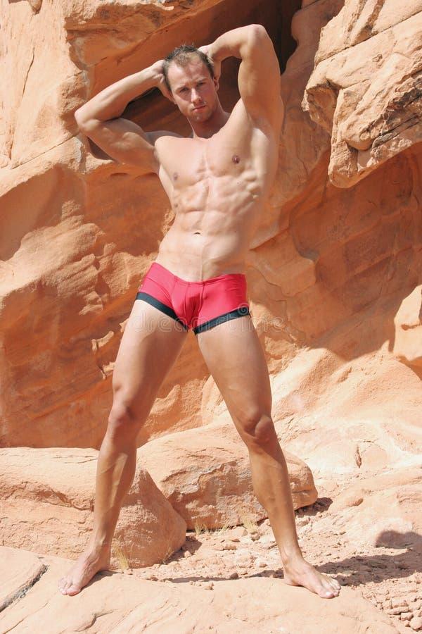 Homem muscular em rochas vermelhas foto de stock