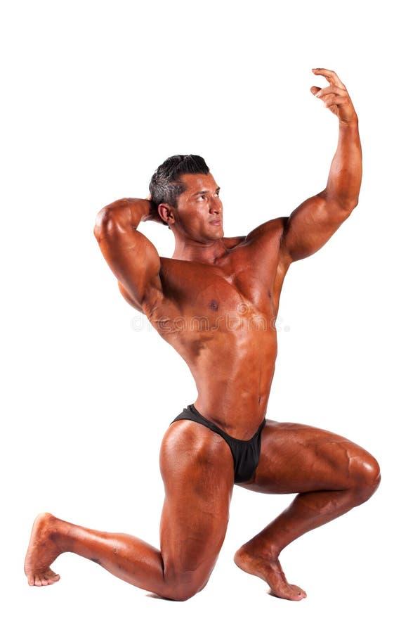 Homem muscular em um fundo branco fotografia de stock royalty free