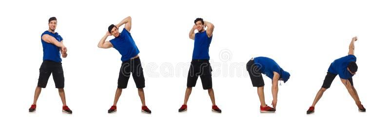Homem muscular isolado no branco imagens de stock royalty free