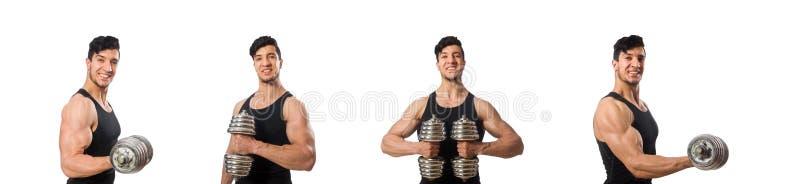 Homem muscular isolado no fundo branco imagens de stock royalty free