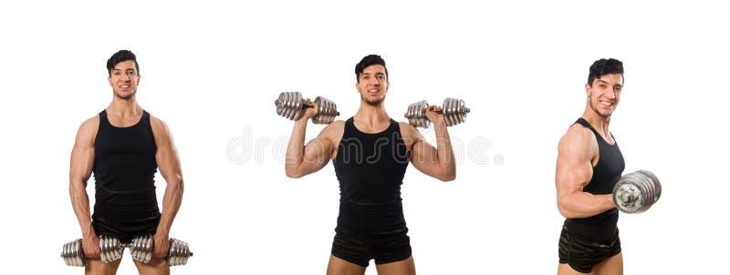 Homem muscular isolado no fundo branco fotografia de stock royalty free