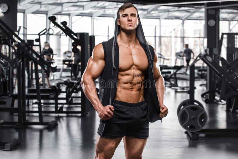 Homem muscular que dá certo no gym, Abs despido masculino forte do torso fotos de stock royalty free