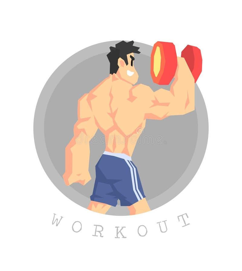 Homem muscular que exercita com pesos, treinamento físico do exercício, ilustração saudável ativa do vetor do estilo de vida ilustração do vetor