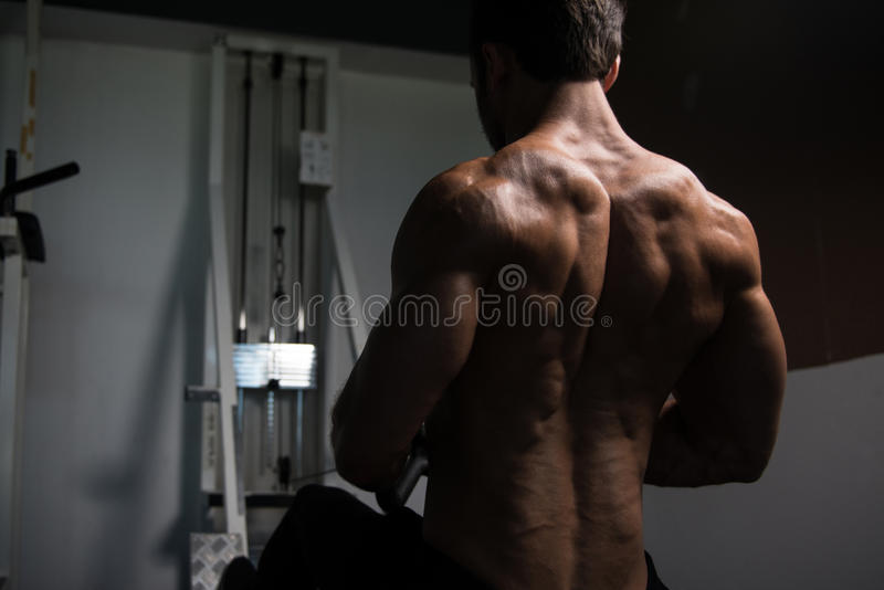 Homem muscular que faz o exercício pesado para a parte traseira imagem de stock