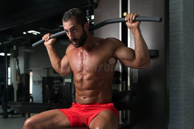 Homem muscular que faz o exercício pesado para a parte traseira imagem de stock royalty free