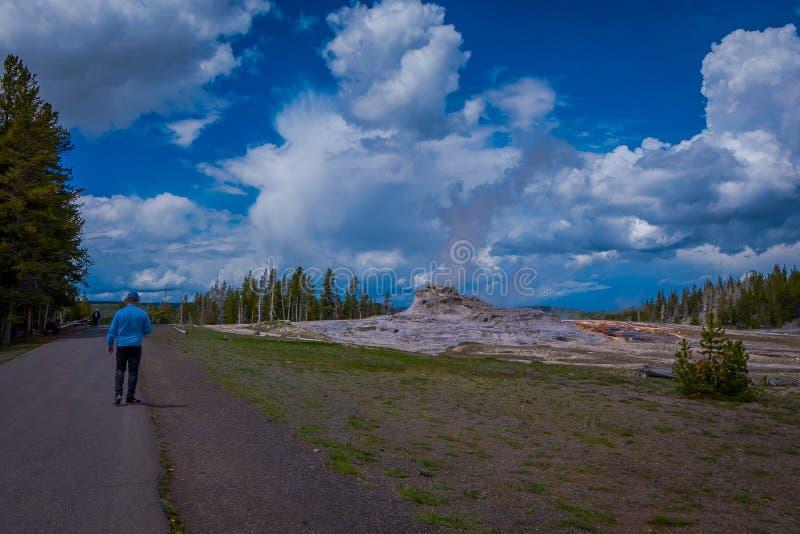 Homem não identificado que veste um t-shirt azul e que anda na estrada, apreciando a vista da bacia fiel velha do geyser encontra fotos de stock royalty free