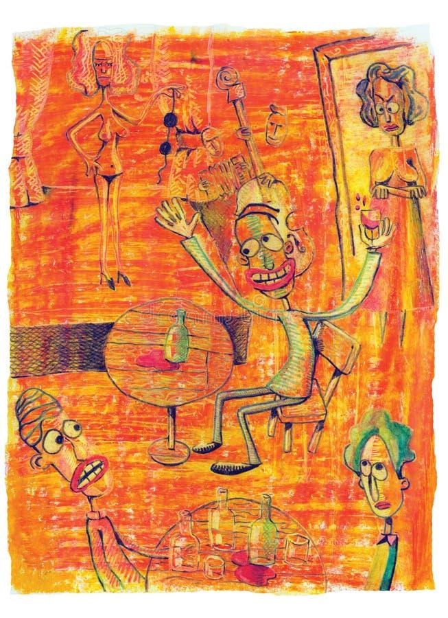 Homem na barra do striptease ilustração stock