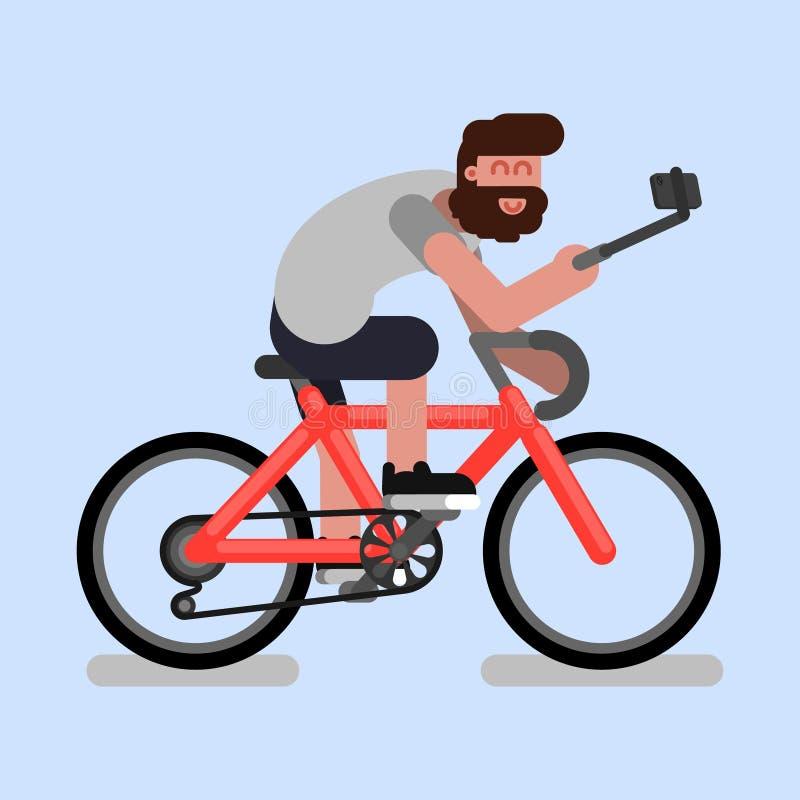 Homem na bicicleta ilustração do vetor