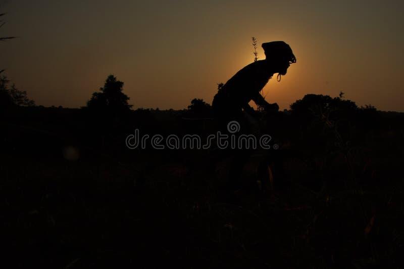 Homem na bicicleta de montada no por do sol imagens de stock royalty free