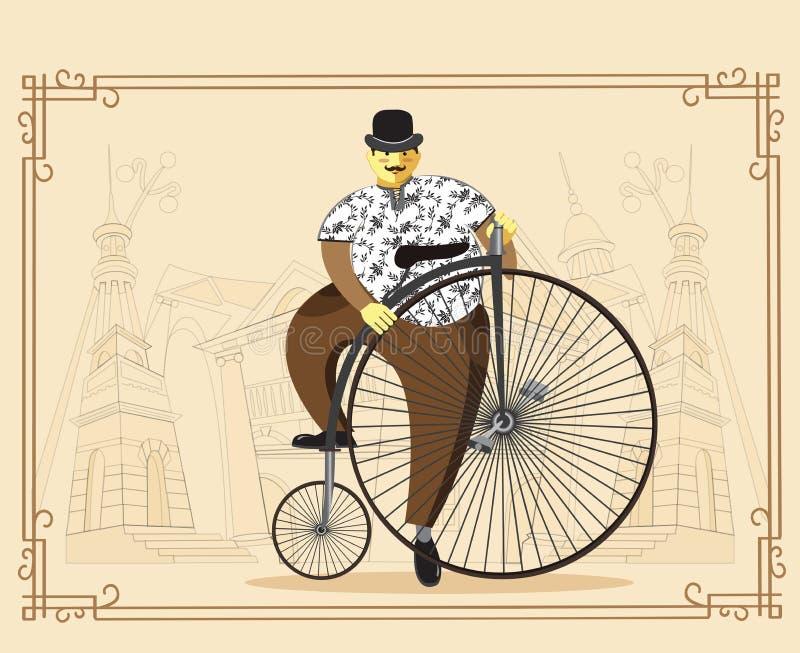 Homem na bicicleta do farthing da moeda de um centavo no fundo velho da cidade Vector o mal ilustração stock