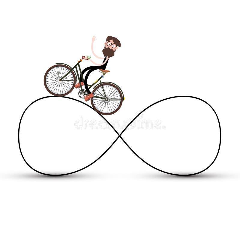 Homem na bicicleta na estrada infinita ilustração do vetor