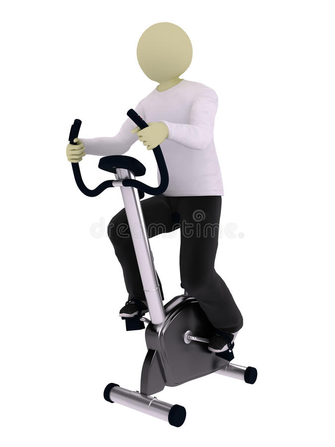 Homem na bicicleta vertical do exercício ilustração stock