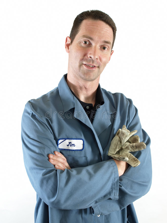 Homem na blusa azul imagens de stock royalty free