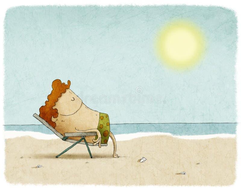 Homem na cadeira de plataforma na praia ilustração do vetor