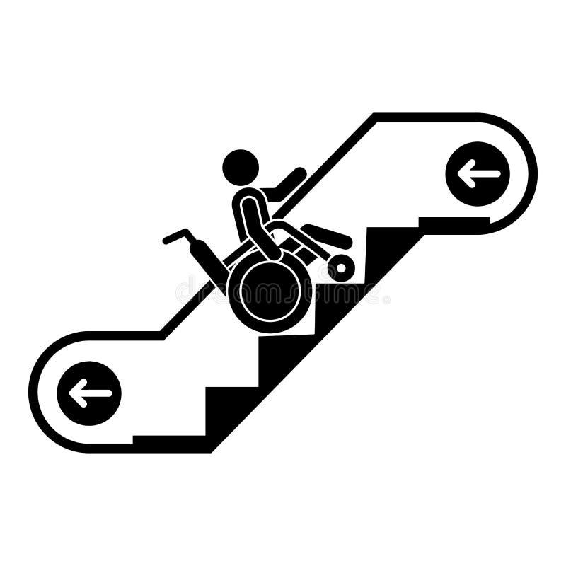 Homem na cadeira de rodas no ícone da escada rolante, estilo simples ilustração royalty free