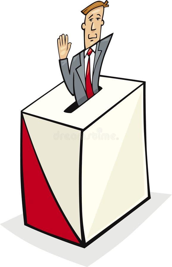 Homem na caixa de cédula ilustração do vetor