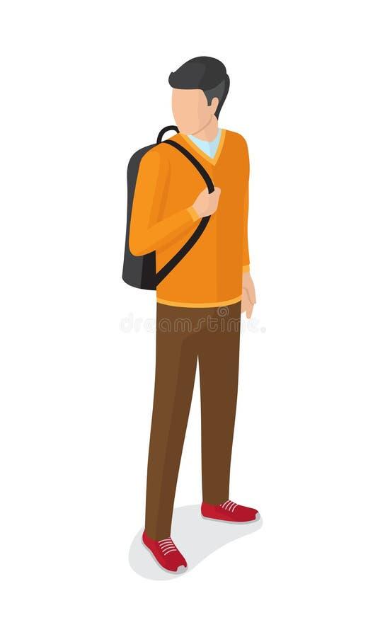 Homem na calças alaranjada de Brown da camiseta com mochila ilustração stock