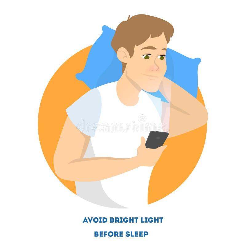 Homem na cama com telefone celular na noite ilustração royalty free