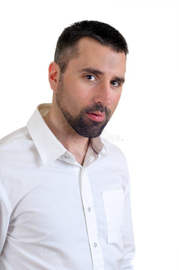 Homem na camisa branca imagens de stock
