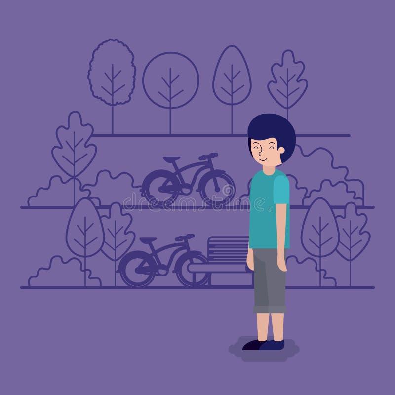 Homem na cena do parque com cadeira e bicicleta ilustração do vetor