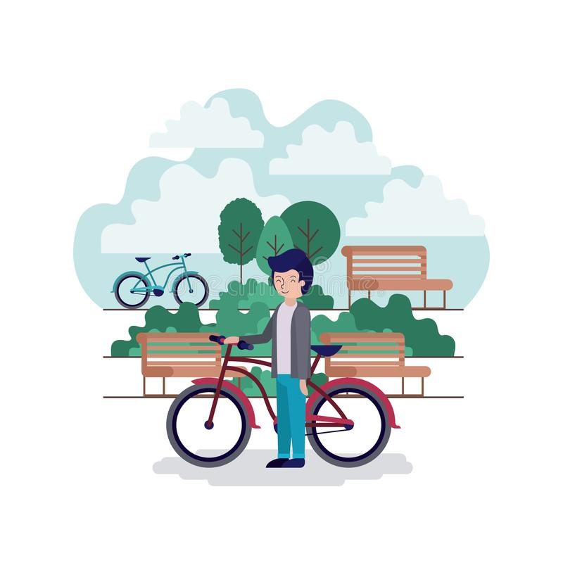 Homem na cena do parque com cadeira e bicicleta ilustração royalty free
