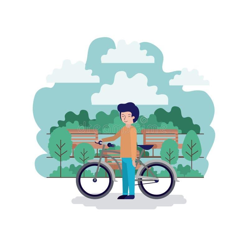 Homem na cena do parque com cadeira e bicicleta ilustração stock
