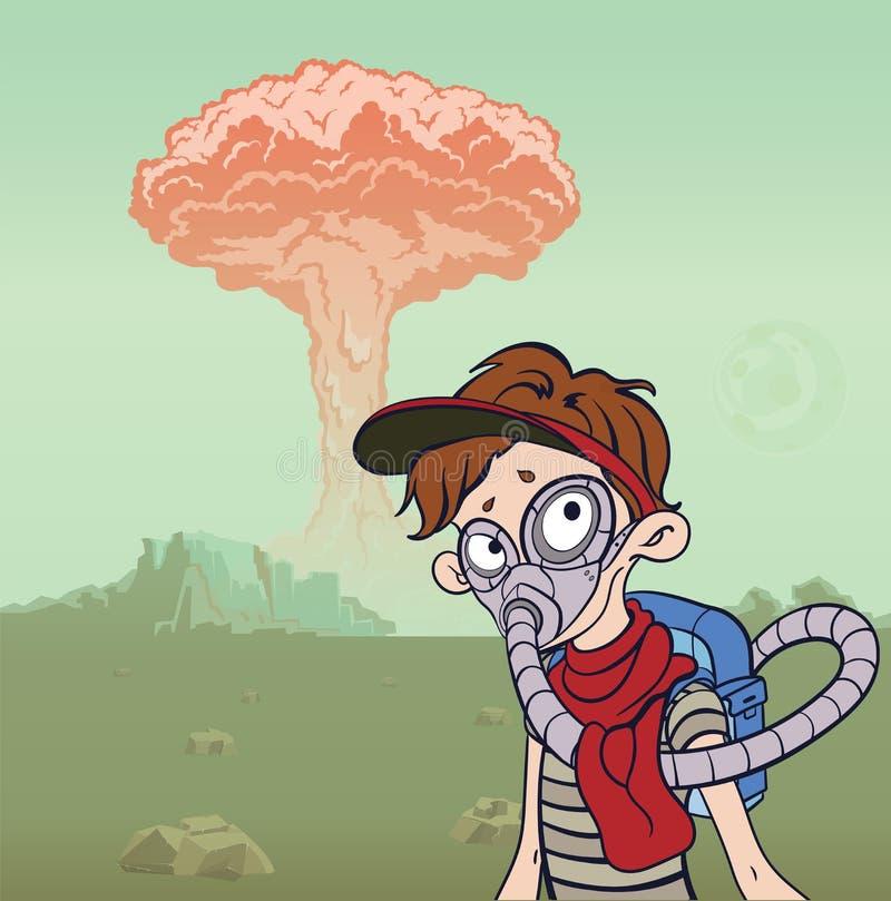 Homem na máscara de gás em um fundo da paisagem estéril e de uma explosão nuclear Conceito apocalíptico do cargo Vetor ilustração royalty free