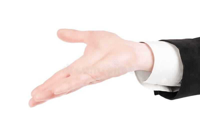 Homem na mão aberta do terno isolada com trajeto de grampeamento imagem de stock