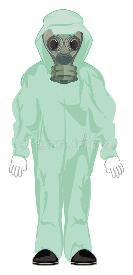 Homem na m?scara de g?s ilustração do vetor